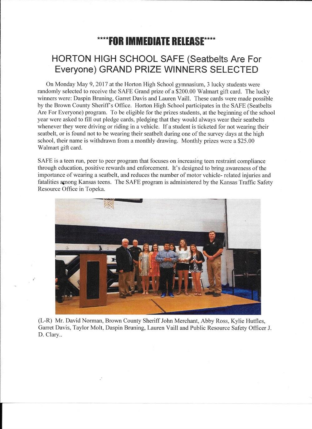 Kansas brown county everest - Horton High School Safe Winners